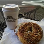 fresh everything bagel and fresh roasted coffee !