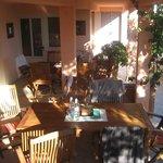 Downstairs communal outdoor kitchen