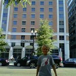 Our son in front of the hotel