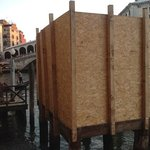 "the ""sweeping"" view of Rialto Bridge from room 108. This large box obstructed our view and we we"