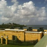 view of cannons and water at the fort.