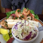 shrimp Po boy with coleslaw