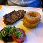 steak and huge onion rings!