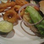 Nice burgers, fries + onion rings.