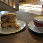 Coffee (a piccolo) and Cake (raspberry & coconut) at Cafe Mila