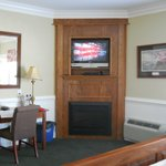 Our tv and fireplace