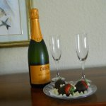 complementary champagne and strawberries