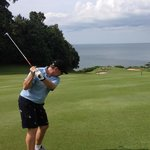 Hitting out to sea - the 8th at Ria Bintan GC