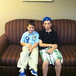 My sons in the hall sitting area.