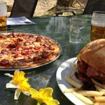 cottage burger and meat lovers pizza