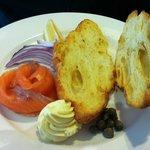 Deconstructed salmon bagel