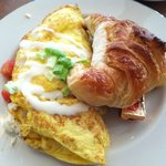 Spinach, tomato, & feta omelet with butter croissant