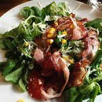 Bacon, corn, tomato salad