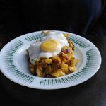 Chorizo,,potato hash and fried egg