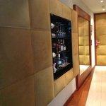 wall minibar and front door room 607
