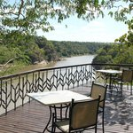 """Main lodge deck that """"hangs"""" over the cliff"""