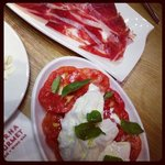 Burrata with tomatoes and basil