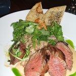 Hanger Steak with Tahini sauce.