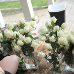 Creating flower bunches on the porch.