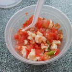 Conch Salad!! This is about halfway through me eating it. It was delicious and flavorful!
