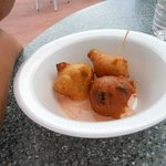 Conch fritters! Each serving had about 6 fritters originally.