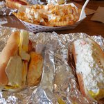 Egg Dog (left), West Virginia Dog (right) and Garlic Ranch Fries (top)