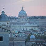 view of St. Peter's Basilica from rooftop lounge -- using a telephoto lens