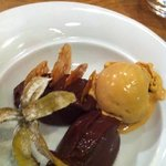 Chocolate ganache with caramel ice cream