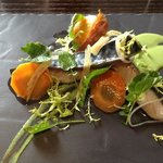 Mackerel with elderflower and pickled carrot