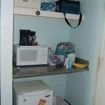 Micro, coffee maker and fridge in room 605