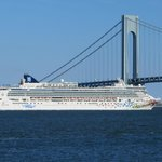 Verrazano bridge with ship passing Viewed from Harbor House