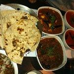 Tandoor roti, Masala Baingan, Malvani paneer, Masala rice with spicy red curry and Papadum