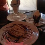 tiramisu, chocolate mousse, and chocolate torte with gelato