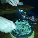 Kinoko Bibimbap - rice, mushrooms and seaweed in sizzling stone bowl - yumm!!!