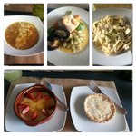 Onion soup, Dipoisse fish, fetuccini Alfredo, Creme Brulee and Lemon pie.
