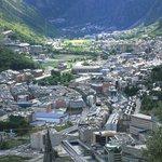 View of Andorra La Vella and Escaldes-Engordany. Andorra la Vella is the capital of Principality