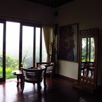 Seating area with misty view
