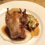 Partridge with turnip puree, savoy cabbage, bacon & potato rashti