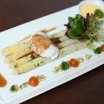 Steam White Asparagus, Soft Poached Eggs Hollandaise Sauce