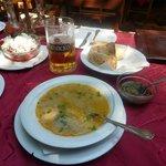 Macedonian soup, salad and beer