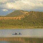 Canoeist on a lake in Ft. Defiance, AZ