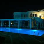 hotel and pool area at night