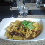 Penne with porcini, eggplant and sundried tomatoes