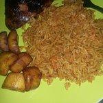 Jerk chicken, jollof rice and fried plantain