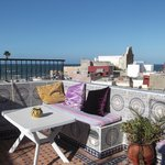The roof terrace where breakfast is served