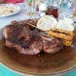 off the barbeque - fantastic t-bone steak!