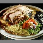 Blue corn chicken enchiladas