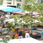 Ceret market from the bedroom window
