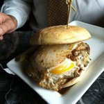 Build-Your-Burger...with a fried egg, steak sauce, sauteed onions, & American Cheese
