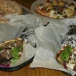 Damascus bread, arabesque hummus, shawarma wrap, falafel wrap